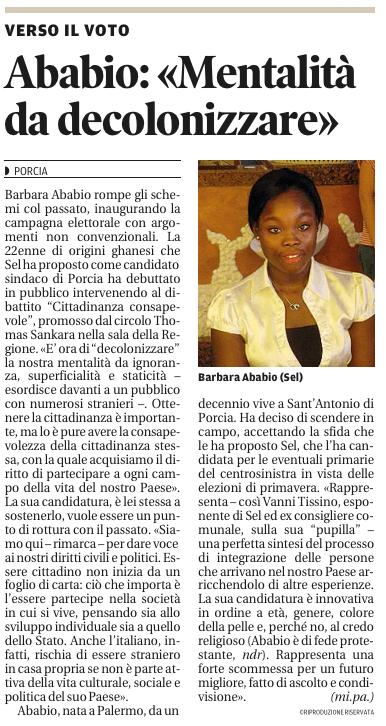 Barbara nel Messaggero Veneto, 13 ottobre 2013